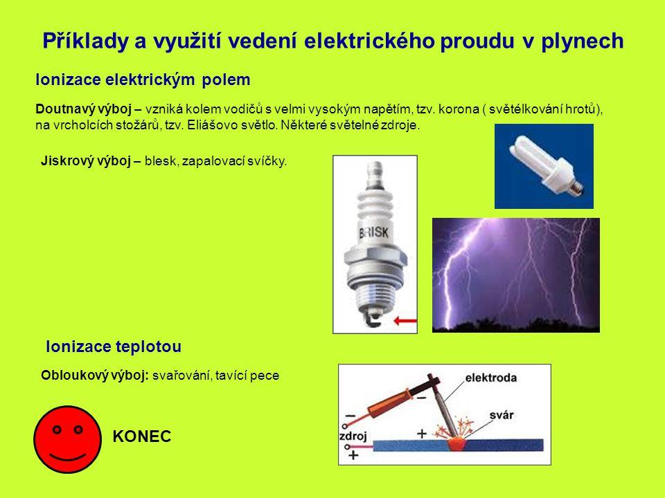 Příklady a využití vedení elektrického proudu v plynech Ionizace elektrickým polem Doutnavý výboj – vzniká kolem vodičů s velmi vysokým napětím, tzv.
