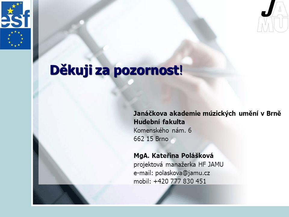 Děkuji za pozornost.Janáčkova akademie múzických umění v Brně Hudební fakulta Komenského nám.