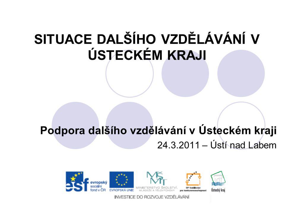 SITUACE DALŠÍHO VZDĚLÁVÁNÍ V ÚSTECKÉM KRAJI Podpora dalšího vzdělávání v Ústeckém kraji 24.3.2011 – Ústí nad Labem