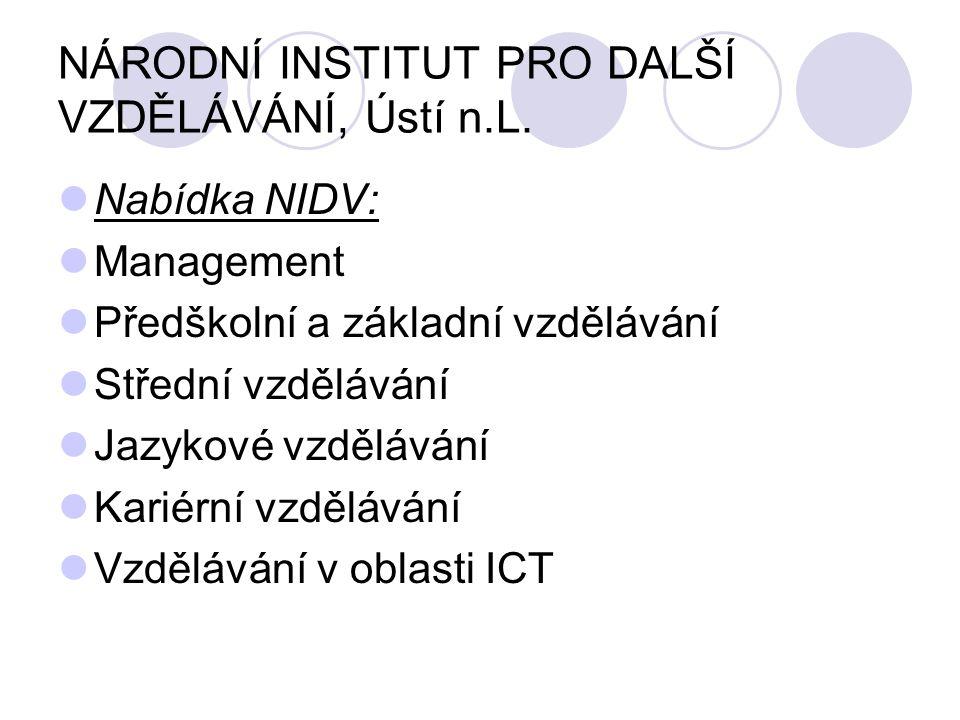 NÁRODNÍ INSTITUT PRO DALŠÍ VZDĚLÁVÁNÍ, Ústí n.L.  Nabídka NIDV:  Management  Předškolní a základní vzdělávání  Střední vzdělávání  Jazykové vzděl