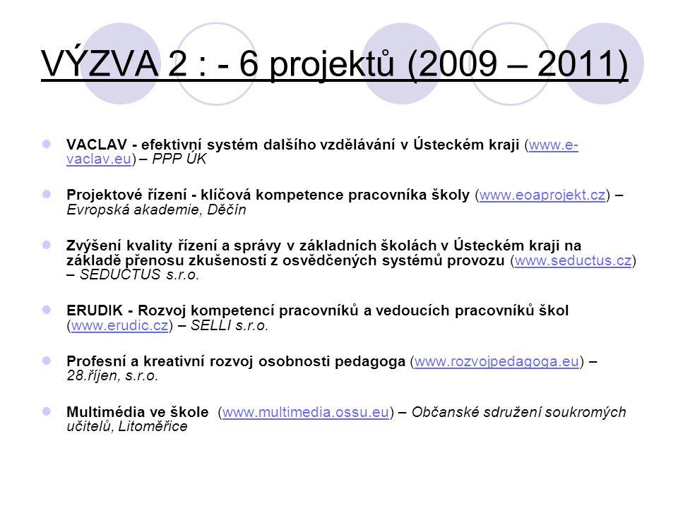 VÝZVA 2 : - 6 projektů (2009 – 2011)  VACLAV - efektivní systém dalšího vzdělávání v Ústeckém kraji (www.e- vaclav.eu) – PPP ÚKwww.e- vaclav.eu  Pro