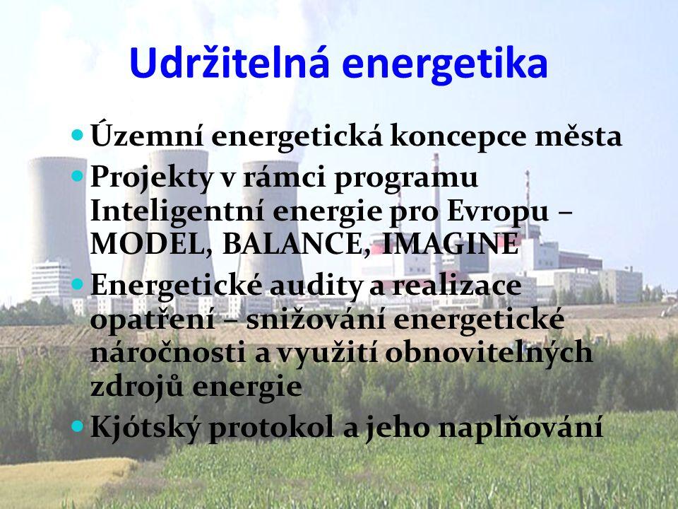 Udržitelná energetika  Územní energetická koncepce města  Projekty v rámci programu Inteligentní energie pro Evropu – MODEL, BALANCE, IMAGINE  Ener
