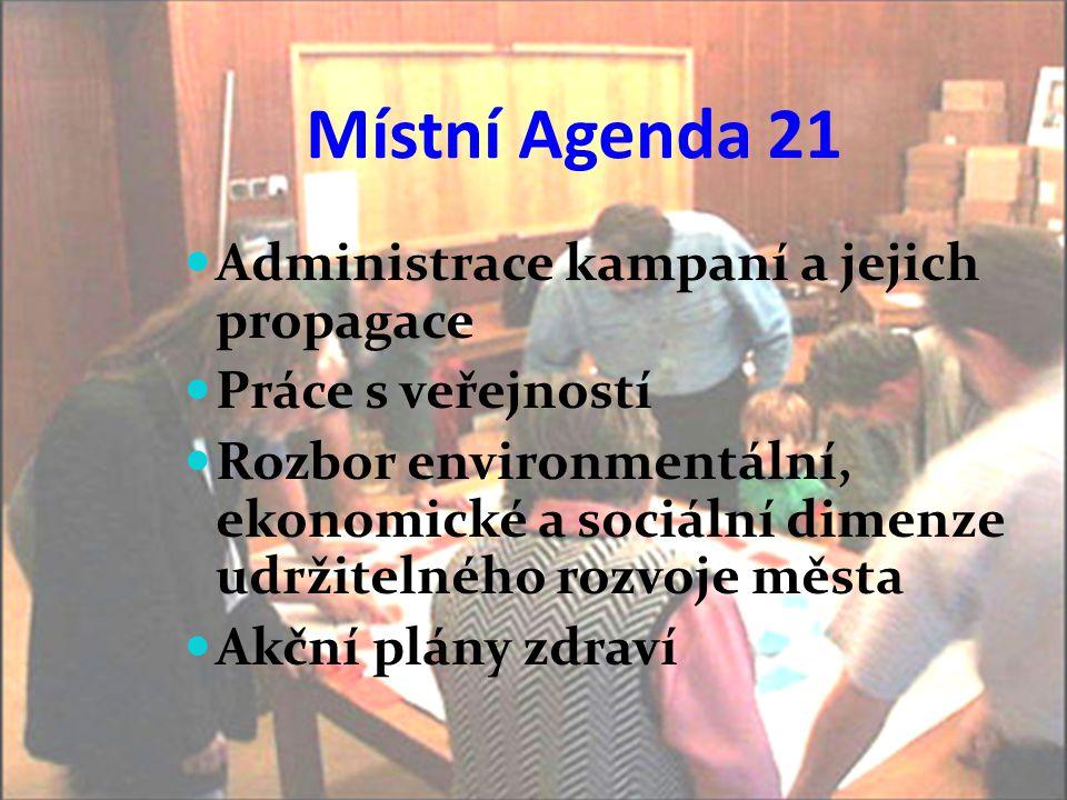 Místní Agenda 21  Administrace kampaní a jejich propagace  Práce s veřejností  Rozbor environmentální, ekonomické a sociální dimenze udržitelného r