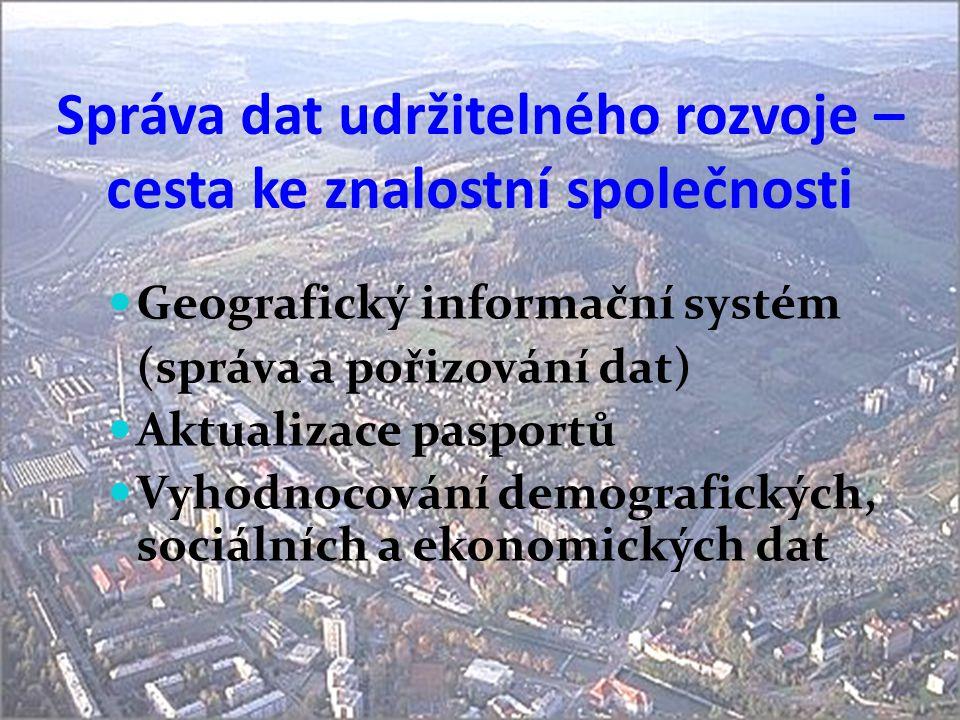 Správa dat udržitelného rozvoje – cesta ke znalostní společnosti  Geografický informační systém (správa a pořizování dat)  Aktualizace pasportů  Vy