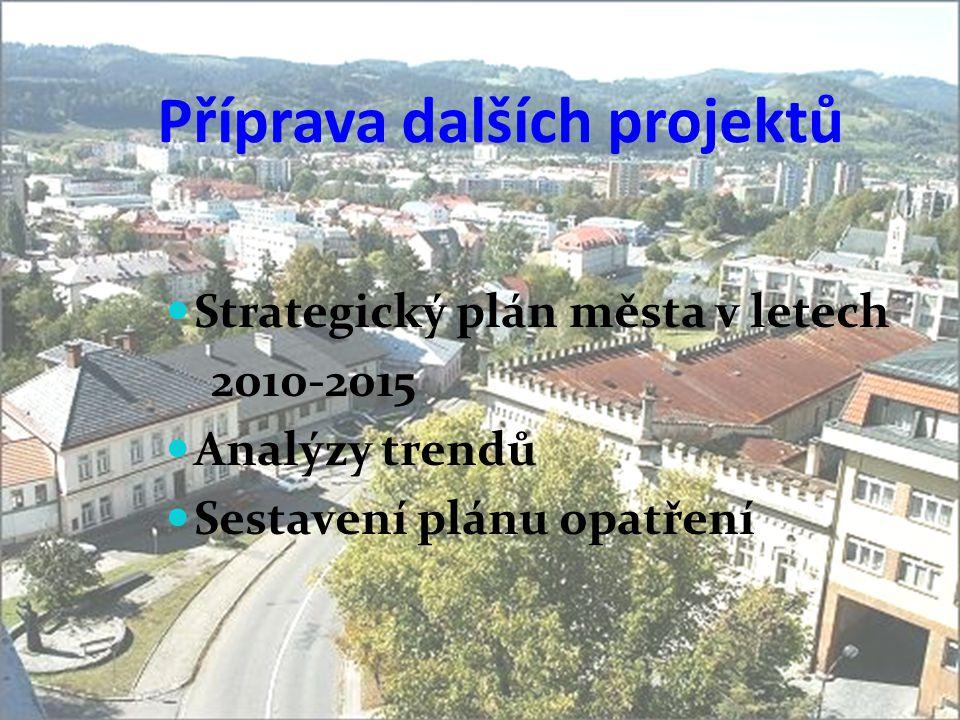 Příprava dalších projektů  Strategický plán města v letech 2010-2015  Analýzy trendů  Sestavení plánu opatření