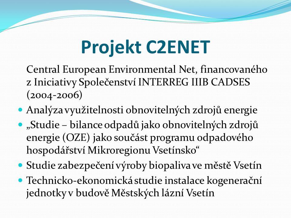 Projekt C2ENET Central European Environmental Net, financovaného z Iniciativy Společenství INTERREG IIIB CADSES (2004-2006)  Analýza využitelnosti ob