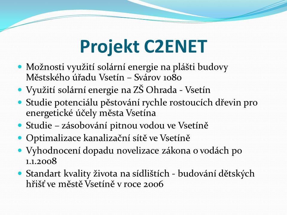 Projekt C2ENET  Studie proveditelnosti k projektu Analytická studie dopravní obsluhy a zátěže města Vsetín z hlediska udržitelného rozvoje  Indikátory udržitelné rozvoje (ECI)  Řešil vesměs jednotlivé oblasti ochrany ŽP včetně zajištění zdrojů pro město Vsetín