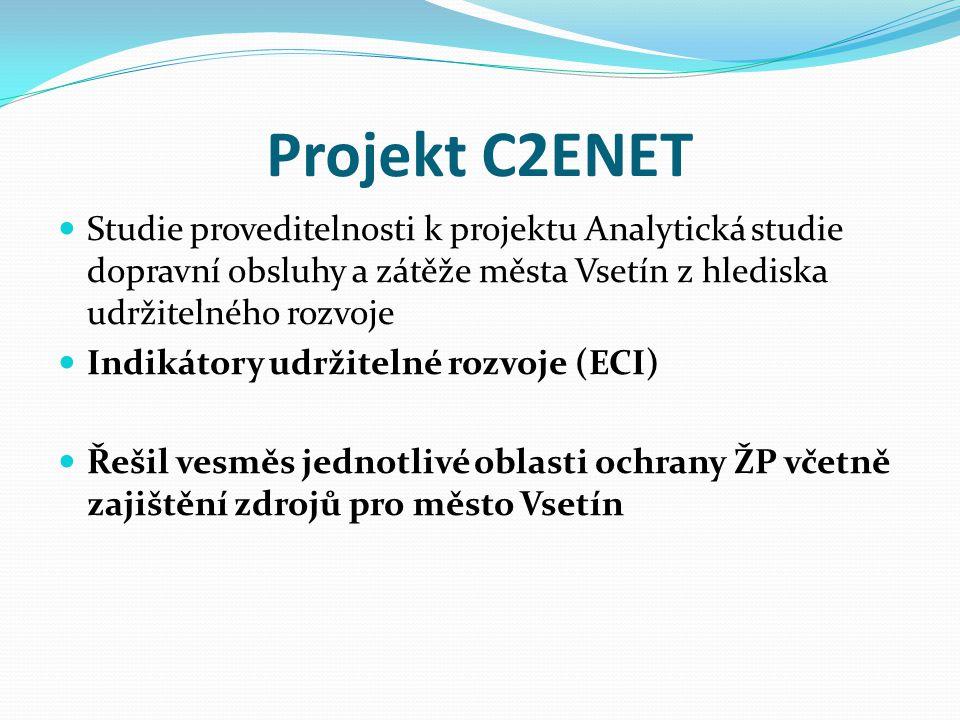 Cesta k udržitelnému rozvoji Vsetínska  Projekt financován prostřednictvím EHP, Norské fondy (2008-2011)  C2ENET se převážně zaměřoval na jednotlivé oblasti ŽP, tento projekt hlavně řeší vazby mezi jednotlivými oblastmi nejen životního prostředí, ale i z hlediska udržitelnosti.