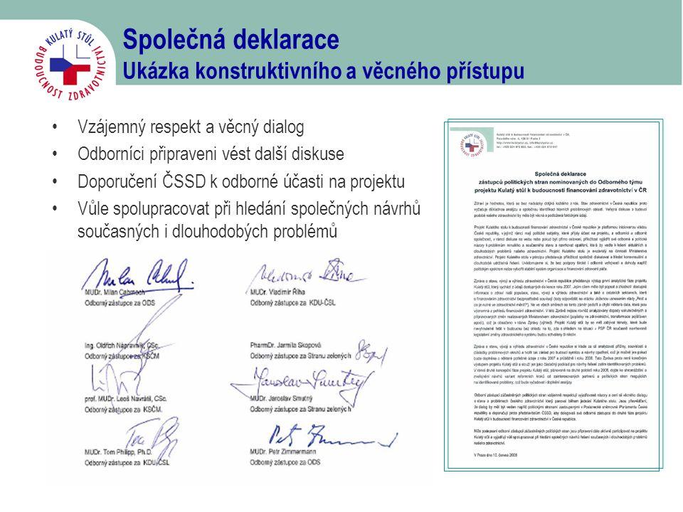 Společná deklarace Ukázka konstruktivního a věcného přístupu •Vzájemný respekt a věcný dialog •Odborníci připraveni vést další diskuse •Doporučení ČSS