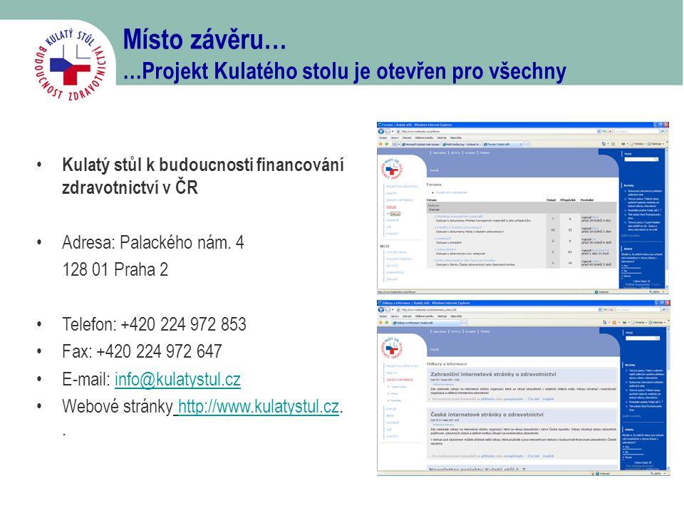 Místo závěru… …Projekt Kulatého stolu je otevřen pro všechny • Kulatý stůl k budoucnosti financování zdravotnictví v ČR •Adresa: Palackého nám. 4 128