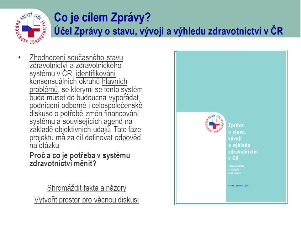 Co je cílem Zprávy? Účel Zprávy o stavu, vývoji a výhledu zdravotnictví v ČR Shromáždit fakta a názory Vytvořit prostor pro věcnou diskusi •Zhodnocení