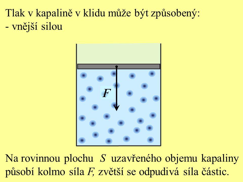 Pascalův zákon: Jestliže působí vnější síla F na povrch rovné plochy s obsahem S uzavřeného objemu kapaliny, v kapalině vznikne tlak, který je ve všech místech kapaliny stejný.