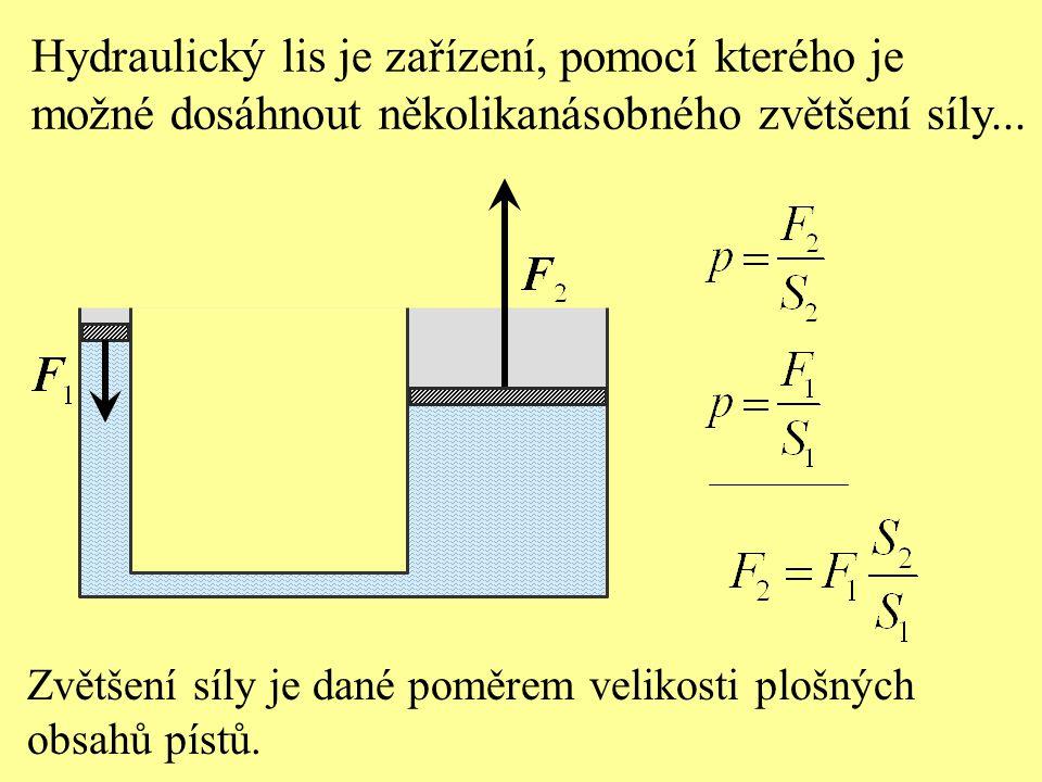 Hydraulický lis je zařízení, pomocí kterého je možné dosáhnout několikanásobného zvětšení síly... Zvětšení síly je dané poměrem velikosti plošných obs