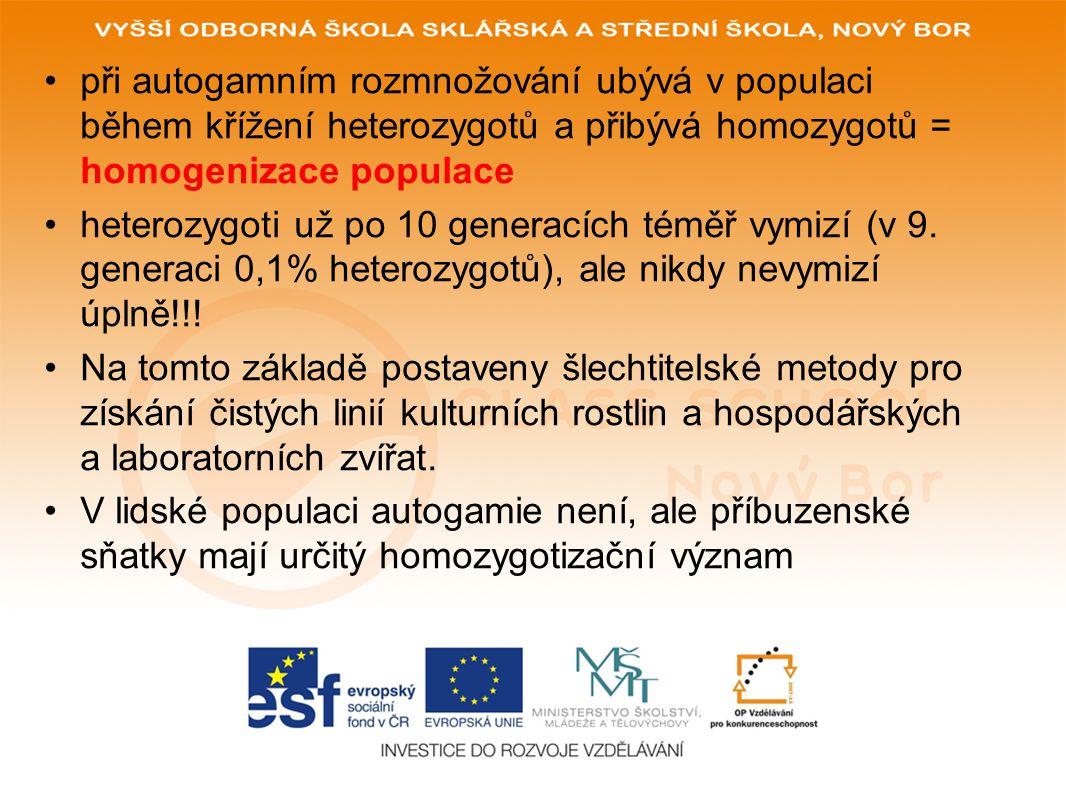 Druhy populací •1) Autogamická populace•1) Autogamická populace ••jedinci se rozmnožují autogamií (samooplozením).