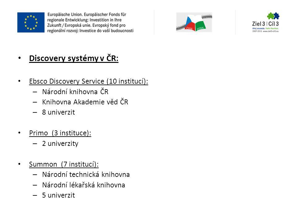 • Discovery systémy v ČR: • Ebsco Discovery Service (10 institucí): – Národní knihovna ČR – Knihovna Akademie věd ČR – 8 univerzit • Primo (3 instituc