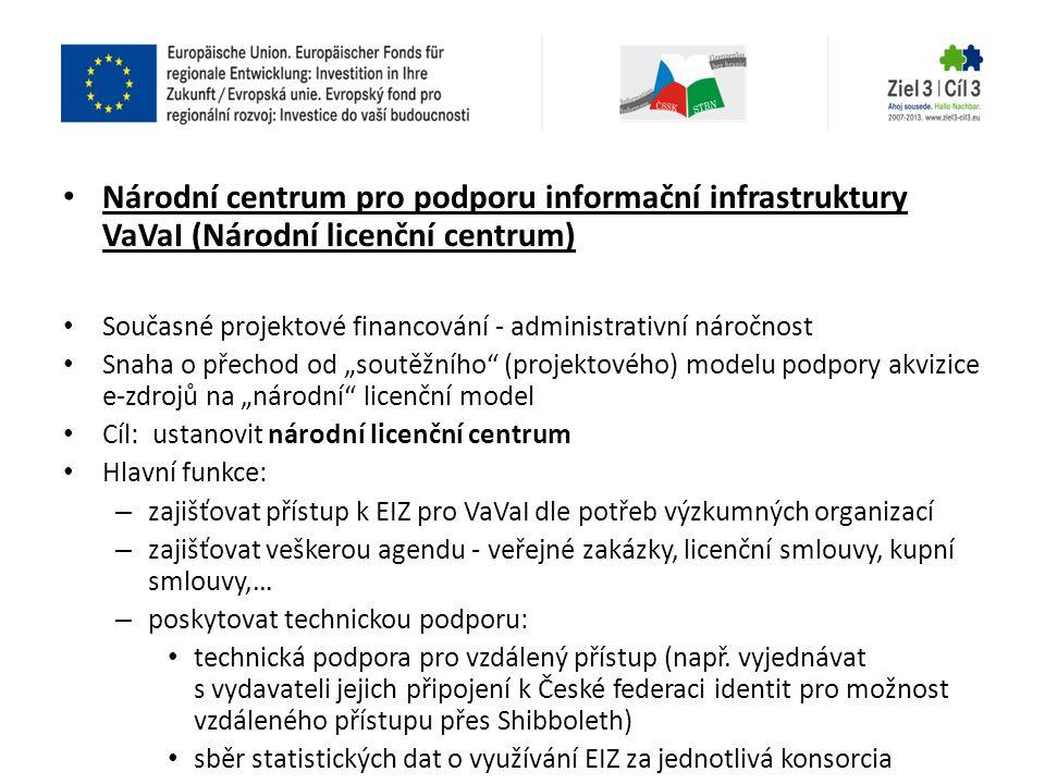 """• Národní centrum pro podporu informační infrastruktury VaVaI (Národní licenční centrum) • Současné projektové financování - administrativní náročnost • Snaha o přechod od """"soutěžního (projektového) modelu podpory akvizice e-zdrojů na """"národní licenční model • Cíl: ustanovit národní licenční centrum • Hlavní funkce: – zajišťovat přístup k EIZ pro VaVaI dle potřeb výzkumných organizací – zajišťovat veškerou agendu - veřejné zakázky, licenční smlouvy, kupní smlouvy,… – poskytovat technickou podporu: • technická podpora pro vzdálený přístup (např."""