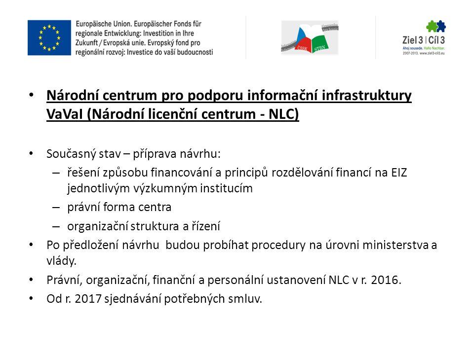 • Národní centrum pro podporu informační infrastruktury VaVaI (Národní licenční centrum - NLC) • Současný stav – příprava návrhu: – řešení způsobu fin