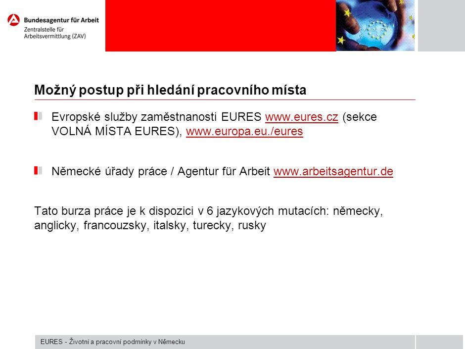 Možný postup při hledání pracovního místa Evropské služby zaměstnanosti EURES www.eures.cz (sekce VOLNÁ MÍSTA EURES), www.europa.eu./eureswww.eures.cz