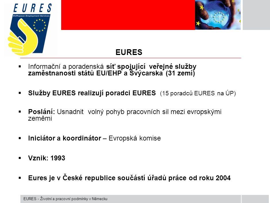 EURES  Informační a poradenská síť spojující veřejné služby zaměstnanosti států EU/EHP a Švýcarska (31 zemí)  Služby EURES realizují poradci EURES (