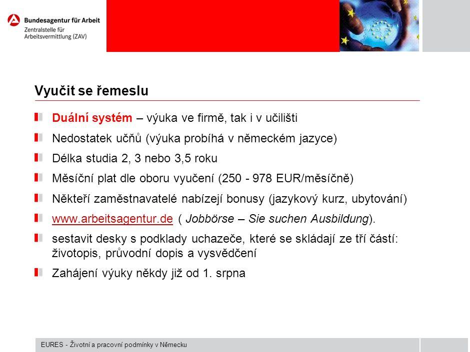 Vyučit se řemeslu Duální systém – výuka ve firmě, tak i v učilišti Nedostatek učňů (výuka probíhá v německém jazyce) Délka studia 2, 3 nebo 3,5 roku M