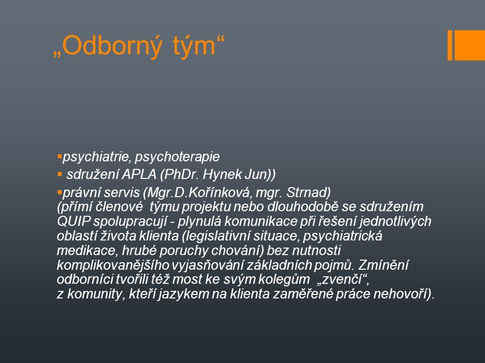 """""""Odborný tým""""  psychiatrie, psychoterapie  sdružení APLA (PhDr. Hynek Jun))  právní servis (Mgr.D.Kořínková, mgr. Strnad) (přímí členové týmu proje"""