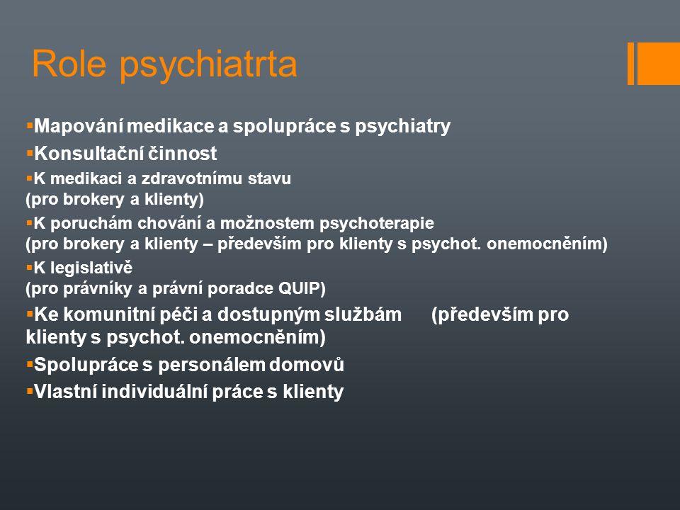 Role psychiatrta  Mapování medikace a spolupráce s psychiatry  Konsultační činnost  K medikaci a zdravotnímu stavu (pro brokery a klienty)  K poru