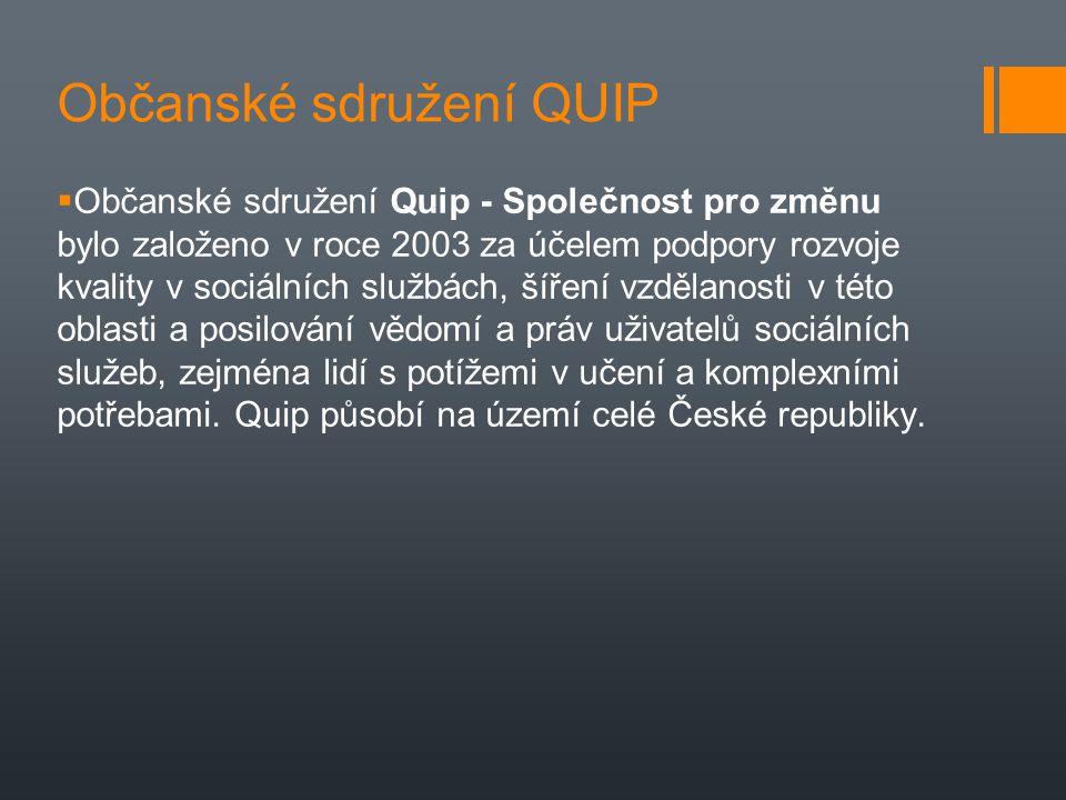 Občanské sdružení QUIP  Občanské sdružení Quip - Společnost pro změnu bylo založeno v roce 2003 za účelem podpory rozvoje kvality v sociálních službá