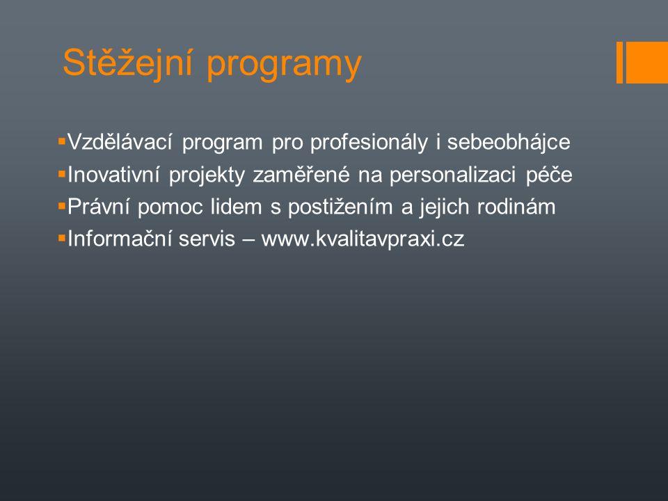 Stěžejní programy  Vzdělávací program pro profesionály i sebeobhájce  Inovativní projekty zaměřené na personalizaci péče  Právní pomoc lidem s post