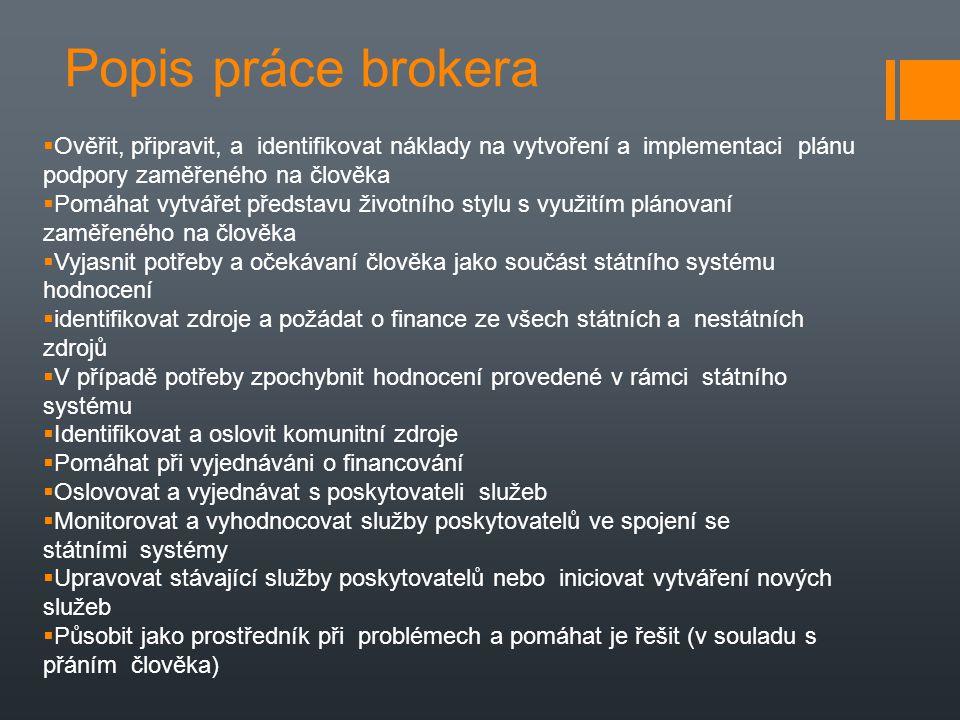 Popis práce brokera  Ověřit, připravit, a identifikovat náklady na vytvoření a implementaci plánu podpory zaměřeného na člověka  Pomáhat vytvářet př