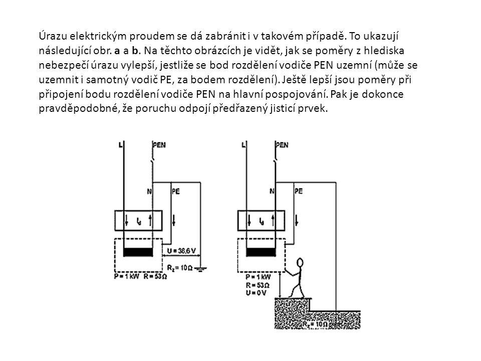 Úrazu elektrickým proudem se dá zabránit i v takovém případě. To ukazují následující obr. a a b. Na těchto obrázcích je vidět, jak se poměry z hledisk