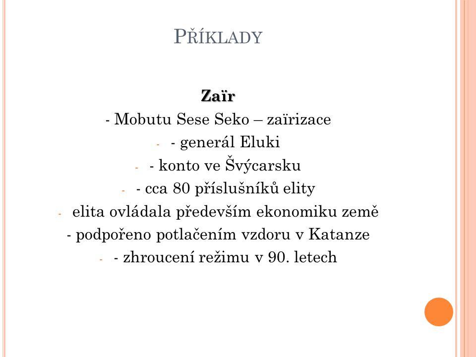 P ŘÍKLADY Zaïr - Mobutu Sese Seko – zaïrizace - - generál Eluki - - konto ve Švýcarsku - - cca 80 příslušníků elity - elita ovládala především ekonomi