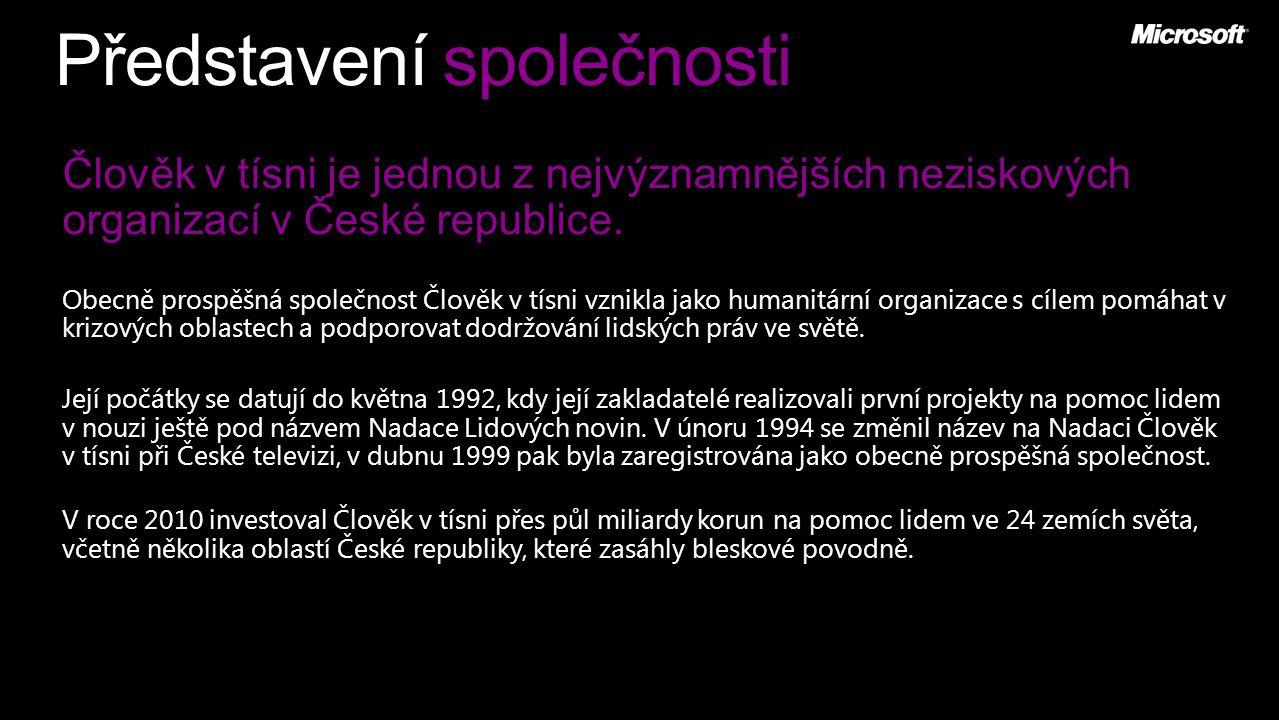 Představení společnosti Člověk v tísni je jednou z nejvýznamnějších neziskových organizací v České republice. Obecně prospěšná společnost Člověk v tís