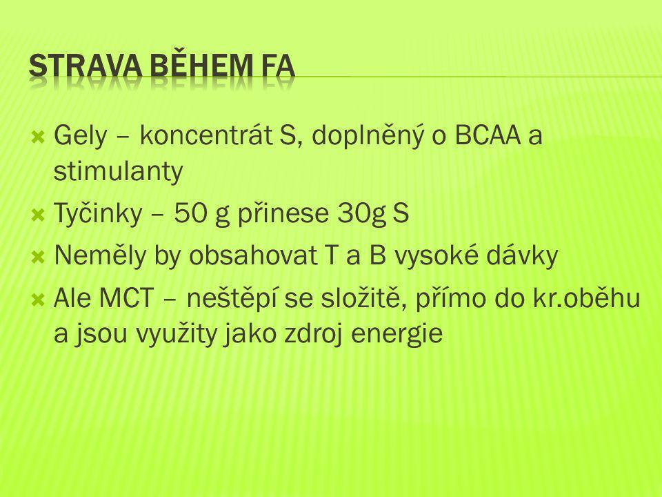 Gely – koncentrát S, doplněný o BCAA a stimulanty  Tyčinky – 50 g přinese 30g S  Neměly by obsahovat T a B vysoké dávky  Ale MCT – neštěpí se slo