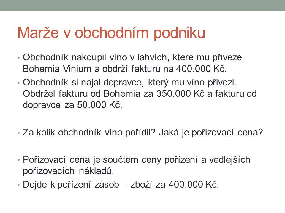 Marže v obchodním podniku • Obchodník nakoupil víno v lahvích, které mu přiveze Bohemia Vinium a obdrží fakturu na 400.000 Kč. • Obchodník si najal do