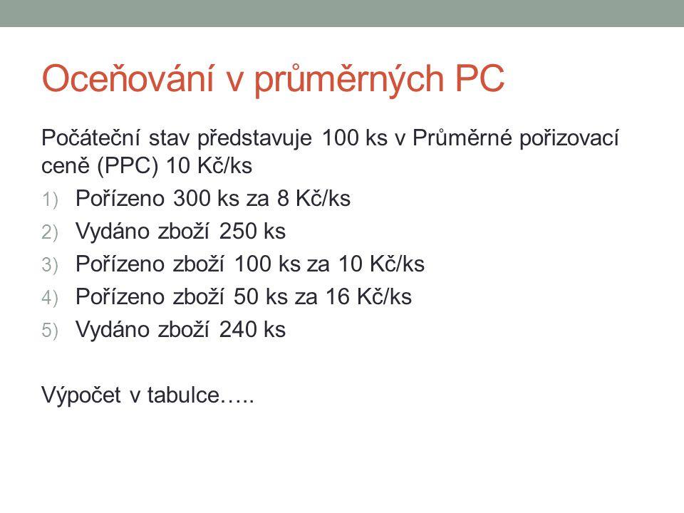 Oceňování v průměrných PC Počáteční stav představuje 100 ks v Průměrné pořizovací ceně (PPC) 10 Kč/ks 1) Pořízeno 300 ks za 8 Kč/ks 2) Vydáno zboží 25