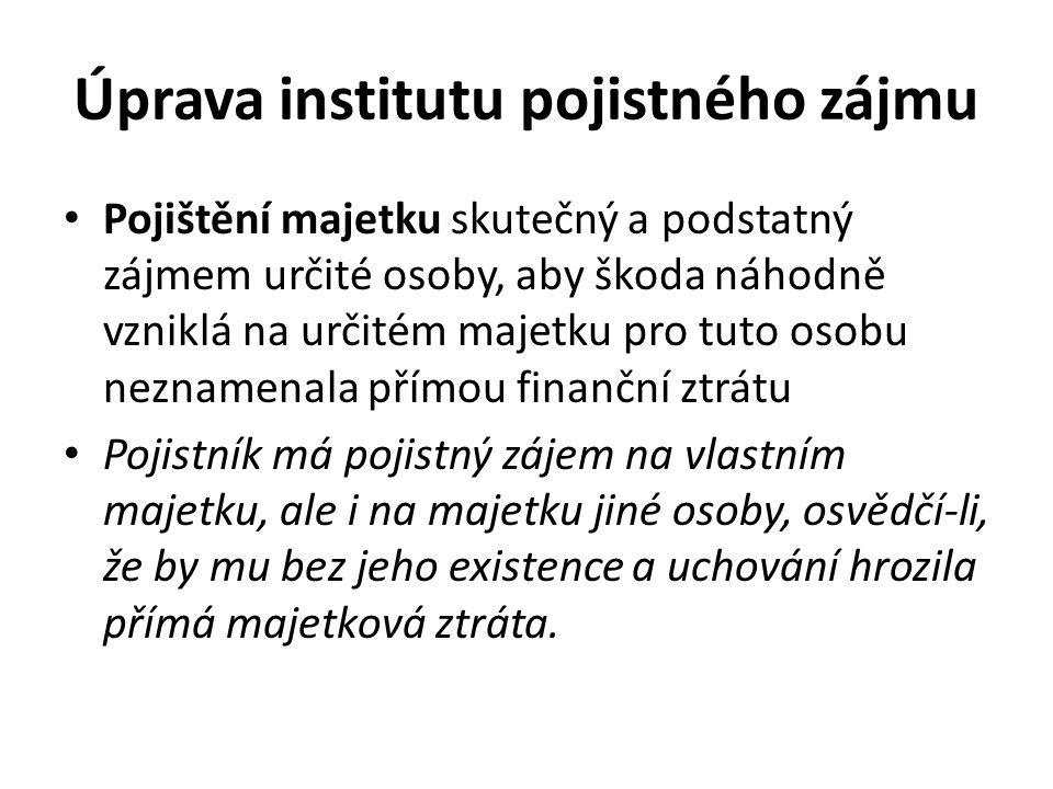 Úprava institutu pojistného zájmu • Dal-li pojištěný souhlas k pojištění, má se za to, že pojistný zájem pojistníka byl prokázán.