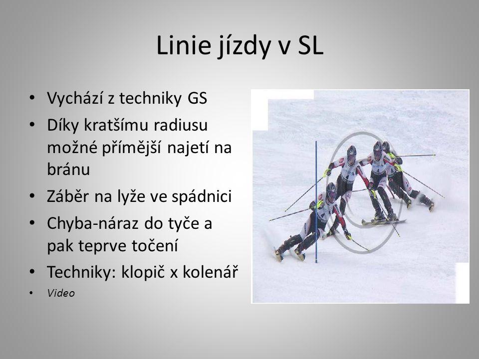 Linie jízdy v SL • Vychází z techniky GS • Díky kratšímu radiusu možné přímější najetí na bránu • Záběr na lyže ve spádnici • Chyba-náraz do tyče a pa