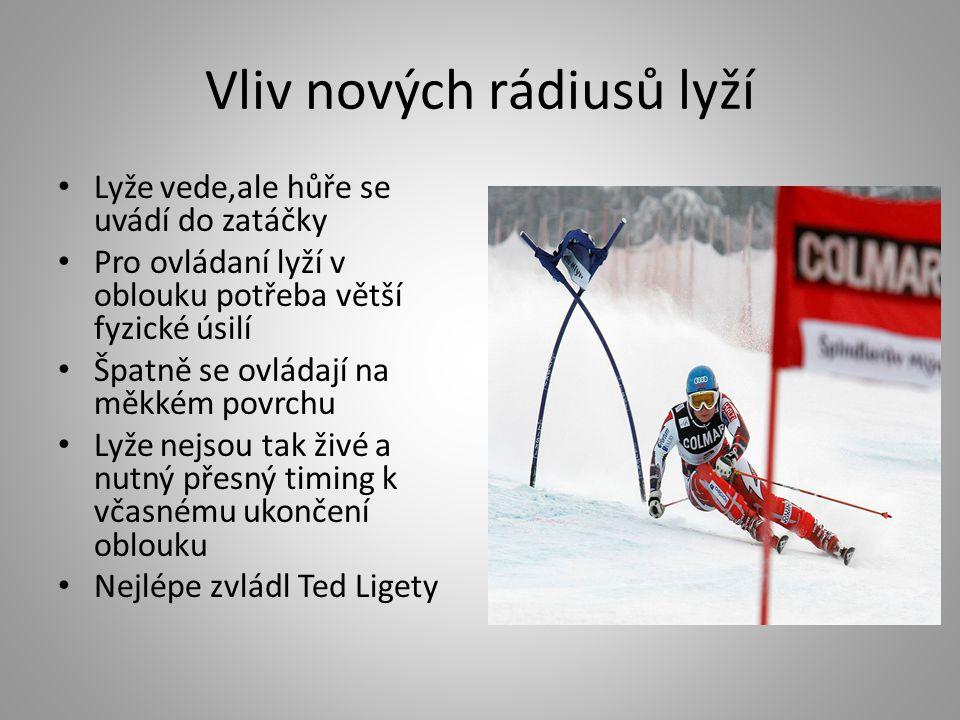 Vliv nových rádiusů lyží • Lyže vede,ale hůře se uvádí do zatáčky • Pro ovládaní lyží v oblouku potřeba větší fyzické úsilí • Špatně se ovládají na mě