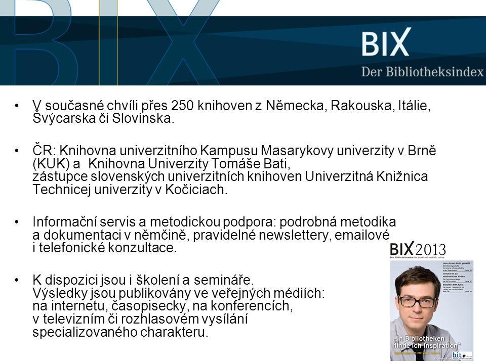 •V současné chvíli přes 250 knihoven z Německa, Rakouska, Itálie, Švýcarska či Slovinska. •ČR: Knihovna univerzitního Kampusu Masarykovy univerzity v