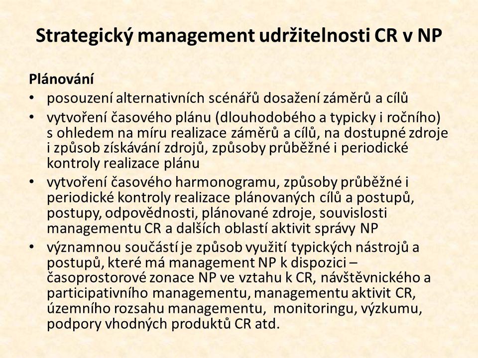 Strategický management udržitelnosti CR v NP Plánování • posouzení alternativních scénářů dosažení záměrů a cílů • vytvoření časového plánu (dlouhodobého a typicky i ročního) s ohledem na míru realizace záměrů a cílů, na dostupné zdroje i způsob získávání zdrojů, způsoby průběžné i periodické kontroly realizace plánu • vytvoření časového harmonogramu, způsoby průběžné i periodické kontroly realizace plánovaných cílů a postupů, postupy, odpovědnosti, plánované zdroje, souvislosti managementu CR a dalších oblastí aktivit správy NP • významnou součástí je způsob využití typických nástrojů a postupů, které má management NP k dispozici – časoprostorové zonace NP ve vztahu k CR, návštěvnického a participativního managementu, managementu aktivit CR, územního rozsahu managementu, monitoringu, výzkumu, podpory vhodných produktů CR atd.