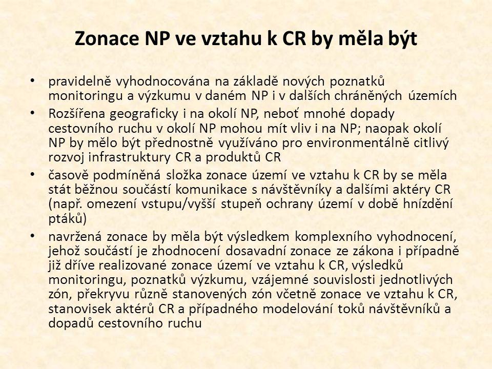 Zonace NP ve vztahu k CR by měla být • pravidelně vyhodnocována na základě nových poznatků monitoringu a výzkumu v daném NP i v dalších chráněných územích • Rozšířena geograficky i na okolí NP, neboť mnohé dopady cestovního ruchu v okolí NP mohou mít vliv i na NP; naopak okolí NP by mělo být přednostně využíváno pro environmentálně citlivý rozvoj infrastruktury CR a produktů CR • časově podmíněná složka zonace území ve vztahu k CR by se měla stát běžnou součástí komunikace s návštěvníky a dalšími aktéry CR (např.
