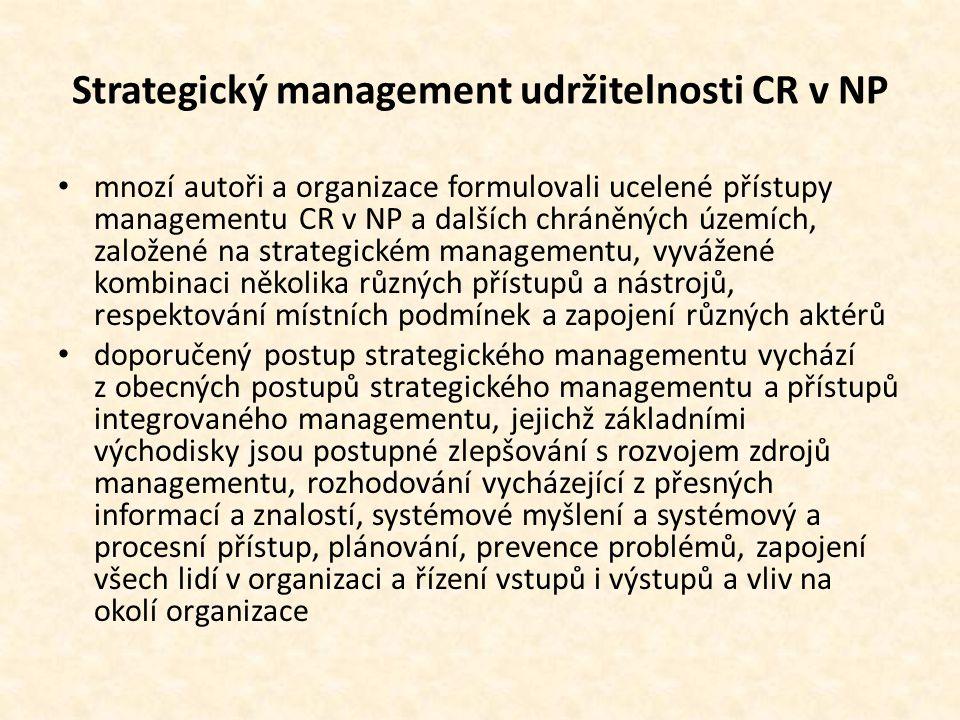 Strategický management udržitelnosti CR v NP • mnozí autoři a organizace formulovali ucelené přístupy managementu CR v NP a dalších chráněných územích, založené na strategickém managementu, vyvážené kombinaci několika různých přístupů a nástrojů, respektování místních podmínek a zapojení různých aktérů • doporučený postup strategického managementu vychází z obecných postupů strategického managementu a přístupů integrovaného managementu, jejichž základními východisky jsou postupné zlepšování s rozvojem zdrojů managementu, rozhodování vycházející z přesných informací a znalostí, systémové myšlení a systémový a procesní přístup, plánování, prevence problémů, zapojení všech lidí v organizaci a řízení vstupů i výstupů a vliv na okolí organizace