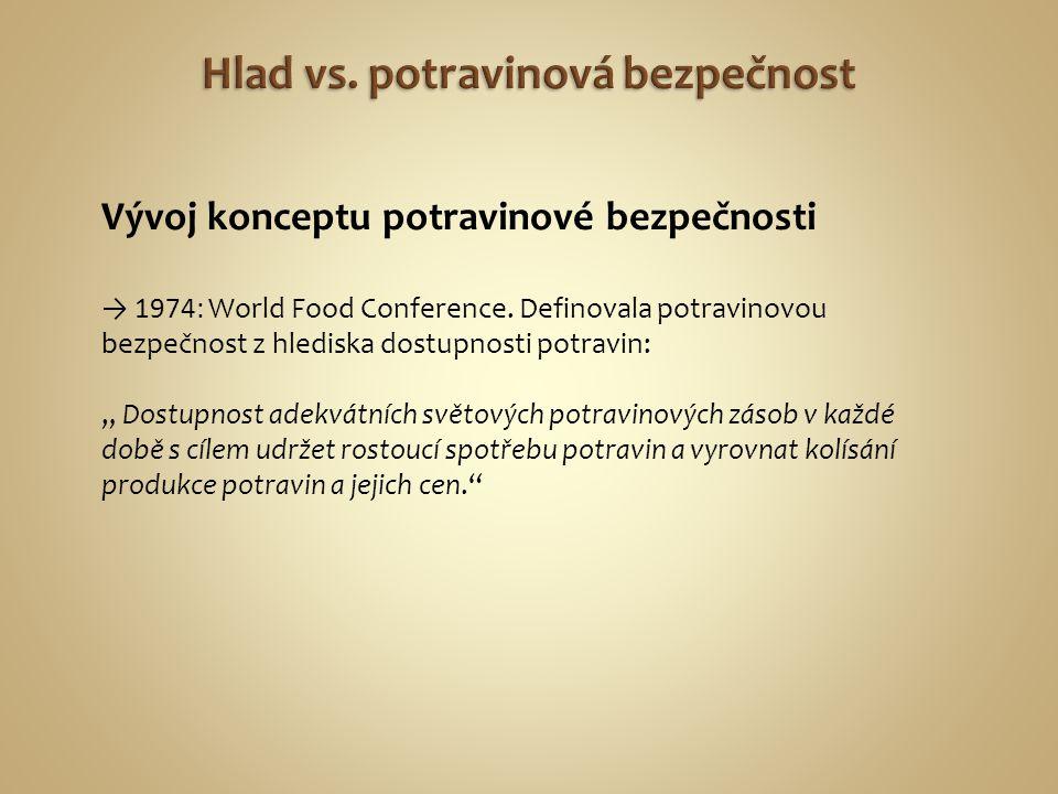 """Vývoj konceptu potravinové bezpečnosti → 1974: World Food Conference. Definovala potravinovou bezpečnost z hlediska dostupnosti potravin: """" Dostupnost"""