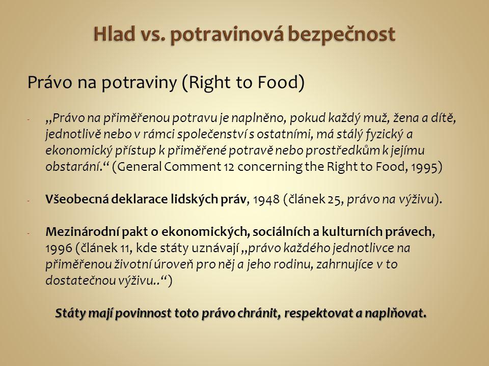 """Právo na potraviny (Right to Food) - """"Právo na přiměřenou potravu je naplněno, pokud každý muž, žena a dítě, jednotlivě nebo v rámci společenství s os"""