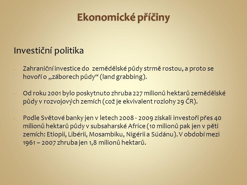 """Investiční politika - Zahraniční investice do zemědělské půdy strmě rostou, a proto se hovoří o """"záborech půdy"""" (land grabbing). - Od roku 2001 bylo p"""