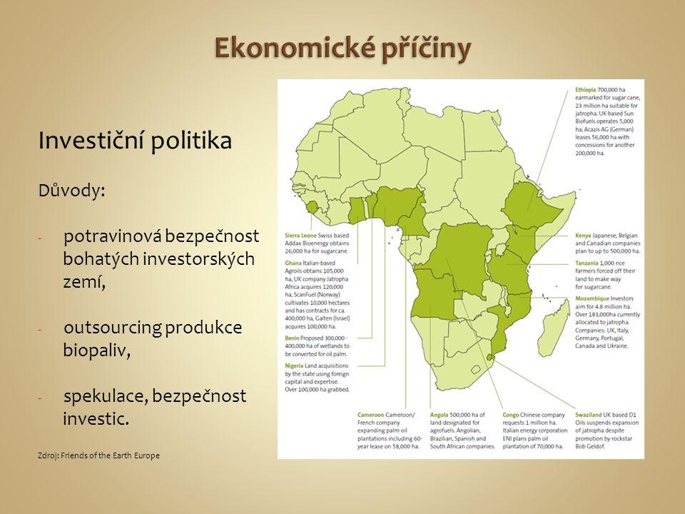 Důvody: - potravinová bezpečnost bohatých investorských zemí, - outsourcing produkce biopaliv, - spekulace, bezpečnost investic. Zdroj: Friends of the