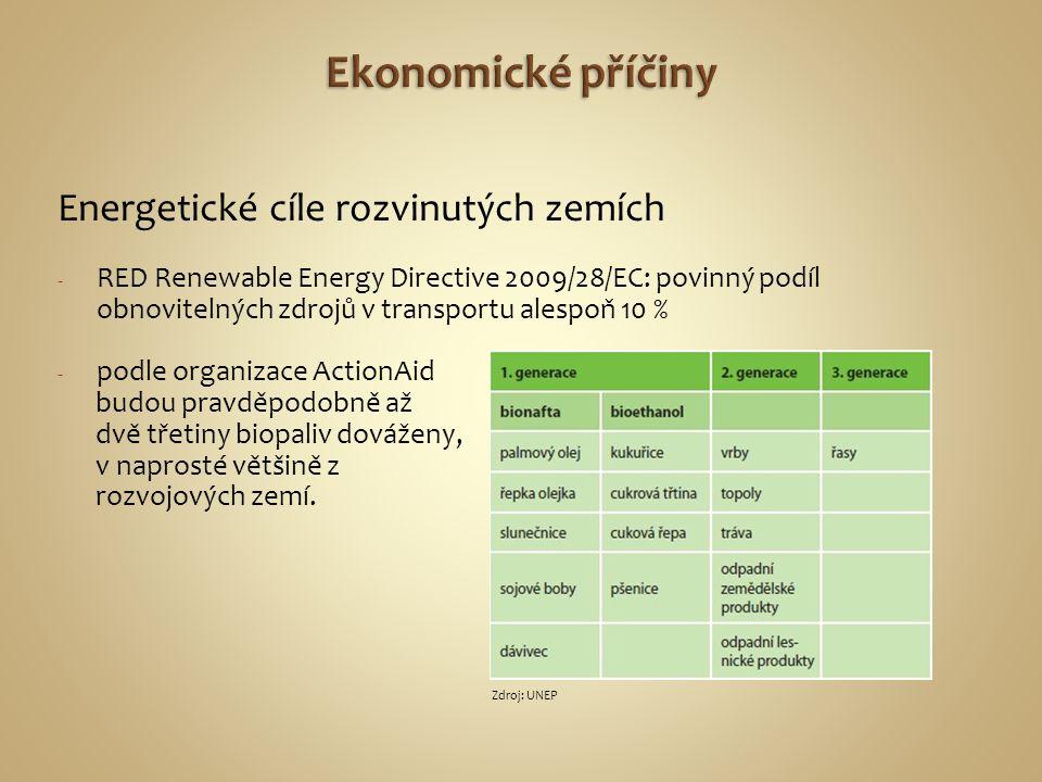 Energetické cíle rozvinutých zemích - RED Renewable Energy Directive 2009/28/EC: povinný podíl obnovitelných zdrojů v transportu alespoň 10 % - podle