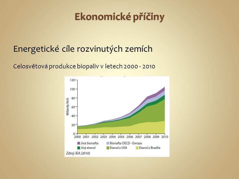 Energetické cíle rozvinutých zemích Celosvětová produkce biopaliv v letech 2000 - 2010