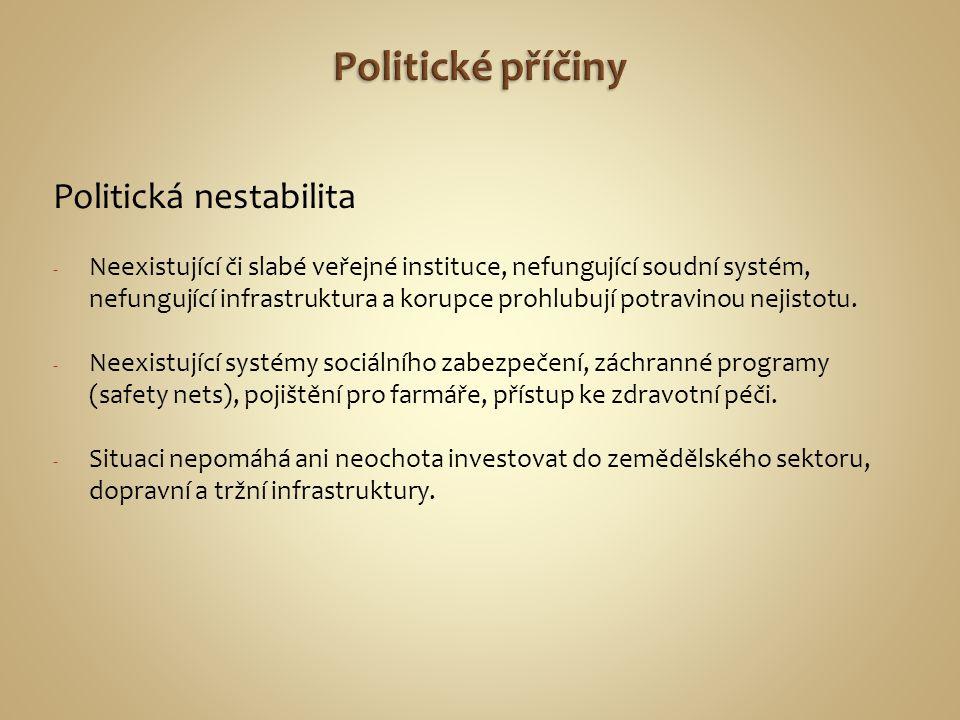 Politická nestabilita - Neexistující či slabé veřejné instituce, nefungující soudní systém, nefungující infrastruktura a korupce prohlubují potravinou
