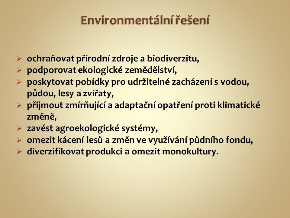  ochraňovat přírodní zdroje a biodiverzitu,  podporovat ekologické zemědělství,  poskytovat pobídky pro udržitelné zacházení s vodou, půdou, lesy a